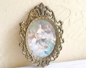 Vintage Ornate Italian Florentine Framed Floral Picture Glass Flowers Small