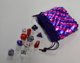 Dice Bag of knitted Scale Mail in Purple and PInk Dragonhide Armor