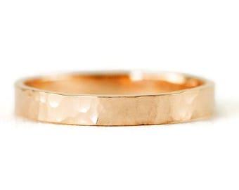 Solid 14k Gold Wedding Band - 3mm Flat 14k Gold Wedding Ring - 14k YG/RG/WG - Smooth or Hammered