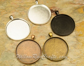 5 pcs 38mm Circle Pendant Trays in Silver, Antique Copper, Antique Bronze and Black, Blank Bezel Cabochon Setting