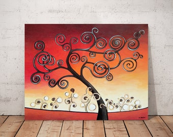 Red Wall Art Landscape Tree Painting, Tree of Life Whimsical Art Original Painting Bedroom Decor