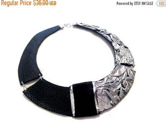 40% OFF SALE Silver color leather necklace Bib necklace Statement collar Leather jewelry