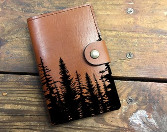 trees Leather Journal, Leather Sketchbook, Leather Passport cover, moleskin Journal, field notes journal, moleskin cover