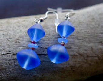 Elegant Glass Bead Earrings | Cobalt Blue Dangle with Silver Accents