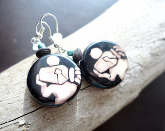 Virgo Bead Earrings | Wood bead,  Dangle with Silver Accents | Zodiac, Astrological Sign