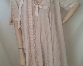 Odette Barsa Peignoir Nightgown and Dressing Gown Set