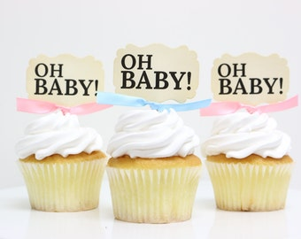 Baby Shower cupcake toppers, Oh Baby, Gender Reveal, Cupcake toppers
