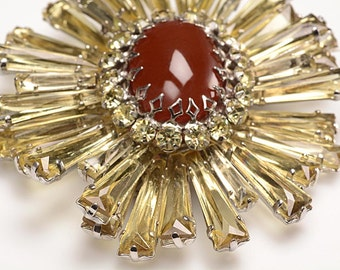 ON HOLD - Iconic 1960's  Schreiner Ruffle Brooch:  Large, Transparent Lemon Curb Stones Surrounding a Faux Carnelian Center Stone