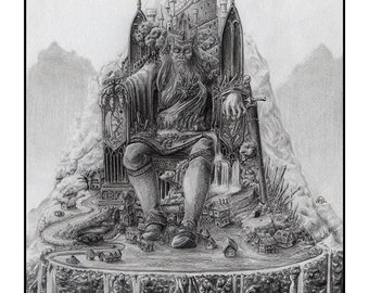 Oaths, Burdens, and Curses - Fantasy Gothic Medieval Art Print - Surreal - Castle, Sword, Village, Lord and Throne - Black & White Graphite