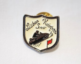Vintage LISBON SNO KNIGHTS enamel pin badge 1960's wisconsin snowmobile club
