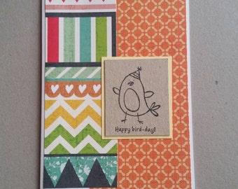 Happy Bird-day - handmade card - blank inside