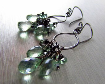 Mystic Green Quartz And Oxidized Sterling Silver Rustic Earrings