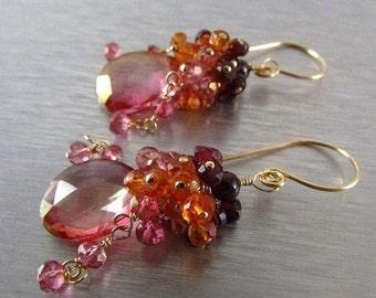 20 Off Pink Quartz Cluster Gold Filled Earrings With Pink Quartz, Rhodolite Garnet, Orange Quartz
