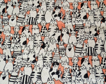 Japanese Fabric / Cotton Linen- Cats Salmon Pink - Fat Quarter (nu170210)