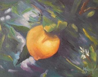"""Lemon Tree Painting, Lemon on Tree Painting, Daily Painting, Small Oil Painting,  9x12"""" Lemon Painting"""
