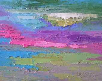 """Abstract Painting, Small Abstract, Textured Art, """"April Muse"""", 6x8"""" Original Oil Painting, Free Shipping in US"""