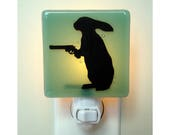 Funny Rabbit Night Light - Hand Painted Fused Glass