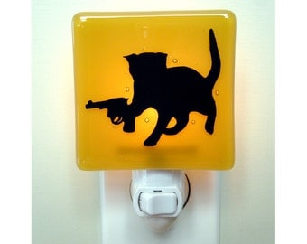 Funny Cat Night Light - Hand Painted Fused Glass - Kitten with a Gun