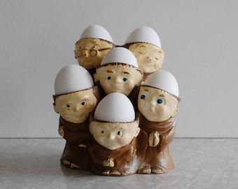 monks egg holder, friars hard-boiled egg display, funny novelty gift, bad-headed men, religious catholic church, easter decor, vintage resin