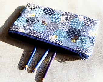 Blue Lucky Cats Fabric Pouch, Zipper Pouch, Pouch, Fabric Pouch, Pencil Pouch, Pencil Case, Change Pouch, Cosmetic Pouch, Mothers Day Gift