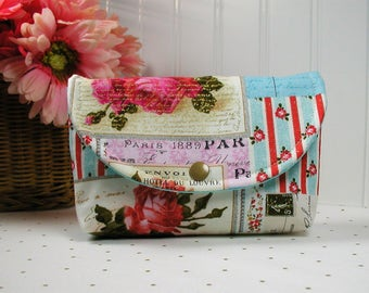 Snap Pouch / Large Snap Pouch / Cosmetic Pouch ... Buttercream Vintage Paris Postcard/ Floral Metallic