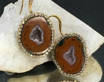 Tabasco Geode Earrings Gem Slice Diamond Look Bezel Druzy Stone Slice Earrings Russet Raw Gem Stone Mineral Jewelry - Kelly