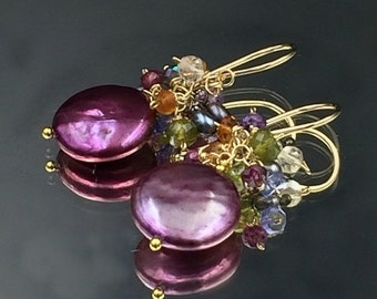 35% OFF Plum Coin Pearl Earring Wire Wrap Cluster Earrings Jewel Tone Gemstones Garnet, Tanzanite, Citrine, Green, Peacock Pearl, 14kt Gold