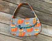 Little Girls Purse - fox - woodland animal - glasses black orange Teal aqua - ready to ship