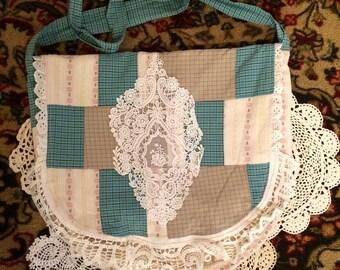 DeviDesigns Romantic Patchwork Messenger Bag Shabby Chic Vegan Handbag Vintage Lace Doilies Floral n Plaid