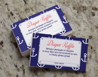 Ahoy! It's a Boy! Nautical-Themed Diaper Raffle Tickets -  INSTANT DOWNLOAD - BAB35_DR