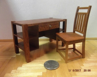 Miniature Mission Style Desk and Chair Set