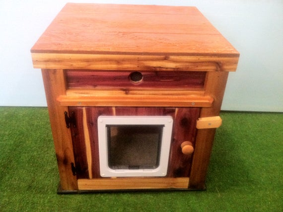 Large CUSTOM Outdoor Heated Cedar Cat House, bed, shelter, bed, condo