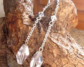 Crystal Swarovski Earrings, Polygon Crystal,  Clear Earrings,  Sterling Silver Earrings, Gift for Her, Teardrop Earrings