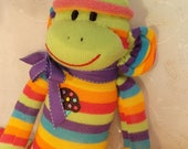 ON SALE Cupcake Sock Monkey Electric Hot Citrus  Stripes.