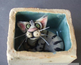 Tabby Cat in a Box Whimsical Ceramic Sculpture