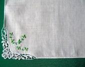 Vintage Irish Linen Shamrock Handkerchief Green Embroidered Hanky White Linen Hankie St. Patricks Day Gift Sympathy Gift Quilting Supplies