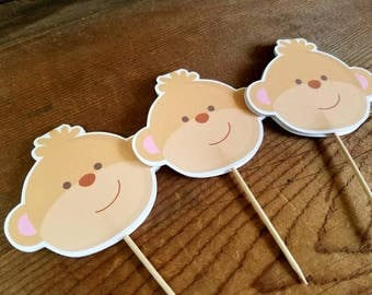 Jungle Friends Party - Set of 12 Monkey Cupcake Toppers by The Birthday House