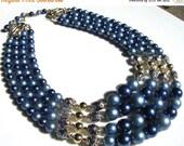 ON SALE Vintage 1950 Blue Glass Pearl Japan necklace