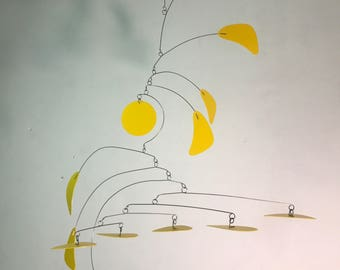 Yellow Calder Inspired Mobile - Ready to Ship - Small Arrow Style Hanging Mobile in Yellow for the Nursery Playroom or Office