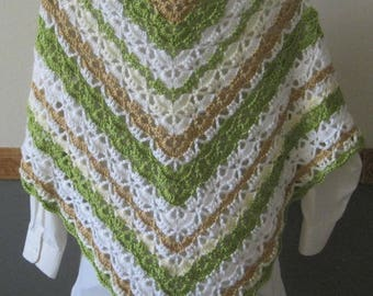 Crocheted Lacy Shawl - Spring Green