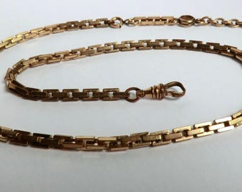 "Vintage Watch Chain Rectangular Links Half Twist T-Bar Necklace Chain 19"" Length"