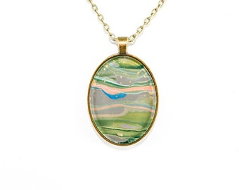 Abstract Art Drip Painting Pendant - Acrylic & Brass Necklace - Green, Gray, Gold, Blue (Original Painting in Oval Setting)