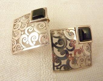 Vintage Sterling Silver Openwork Onyx Earrings