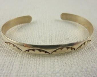 Vintage Sterling Southwestern Stamped Baby Cuff Bracelet