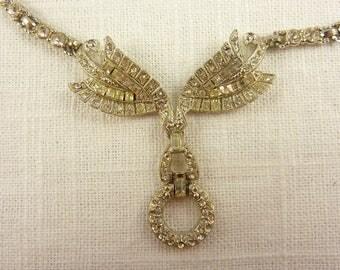 Vintage Deco Rhinestone Bridal Necklace