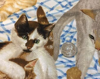 Cats fabric,  cotton print. quilting, sewing, half yard.  Kittens large scale print by Daisy Kingdom