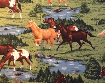 Horse fabric,  cotton print. quilting, sewing, half yard.  Horses running, large scale print by Cranston Print Works