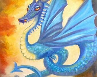 Dragon, 11x14 Oil on Canvas Panel, Fantasy Art