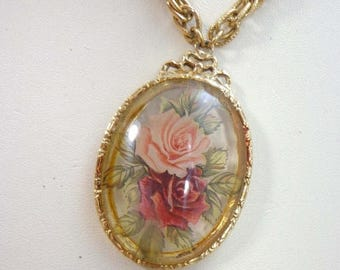 "SALE Rose Necklace 1928 Gold Tone Chain 30"" Floral Flower Signed Pendant 840"