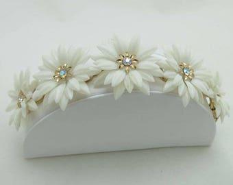 SALE Chain Link Bracelet Coro Gold Tone Designer Signed Rhinestones Plastic Flowers 9005